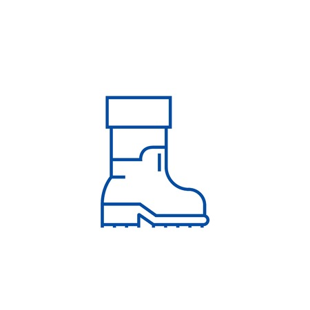 Farmer boots line concept icon. Farmer boots flat  vector website sign, outline symbol, illustration.