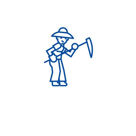 Farmer with scythe line concept icon. Farmer with scythe flat  vector website sign, outline symbol, illustration. Иллюстрация
