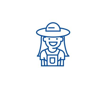 Farmer woman line concept icon. Farmer woman flat  vector website sign, outline symbol, illustration.