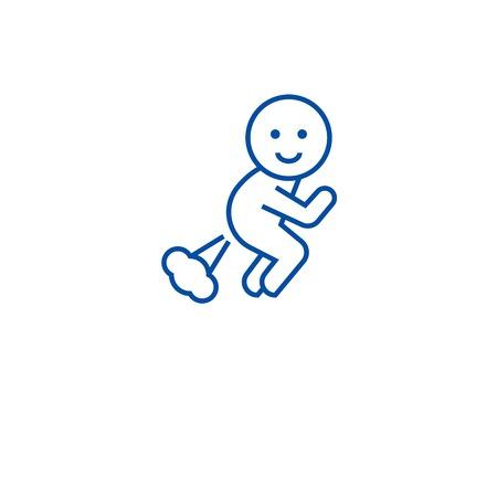 Farting man line concept icon. Farting man flat  vector website sign, outline symbol, illustration.