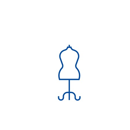 Fashion mannequin line concept icon. Fashion mannequin flat  vector website sign, outline symbol, illustration.