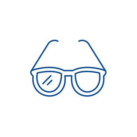 Fashionable glasses line concept icon. Fashionable glasses flat  vector website sign, outline symbol, illustration. Standard-Bild - 120053736