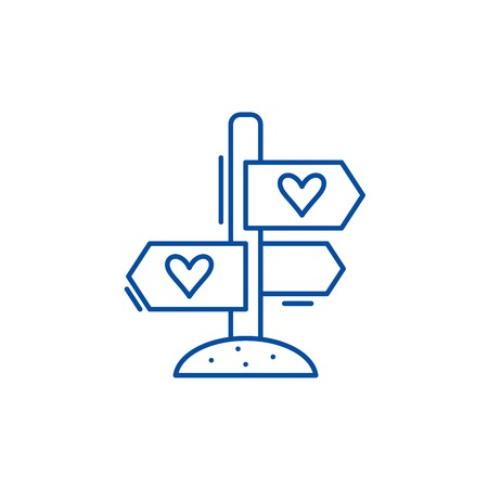 Favourite directions line concept icon. Favourite directions flat vector website sign, outline symbol, illustration.