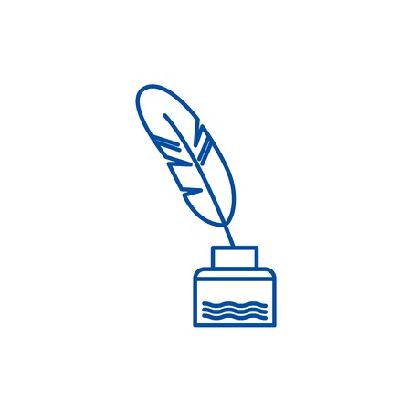 Feather with writing ink,literature line concept icon. Feather with writing ink,literature flat  vector website sign, outline symbol, illustration.  イラスト・ベクター素材