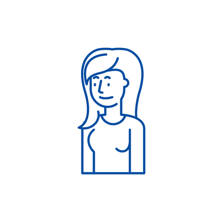 Female attentiveness line concept icon. Female attentiveness flat  vector website sign, outline symbol, illustration.
