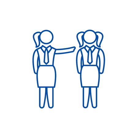 Female mentoring line concept icon. Female mentoring flat vector website sign, outline symbol, illustration.