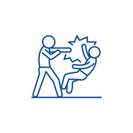 Fight line concept icon. Fight flat  vector website sign, outline symbol, illustration.