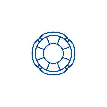 Finance lifebuoy line concept icon. Finance lifebuoy flat  vector website sign, outline symbol, illustration.