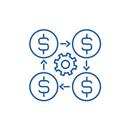 Finance management line concept icon. Finance management flat  vector website sign, outline symbol, illustration.