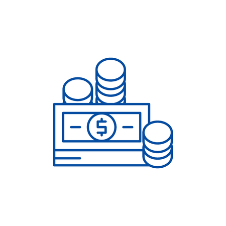 Financial contributions line concept icon. Financial contributions flat  vector website sign, outline symbol, illustration. Иллюстрация
