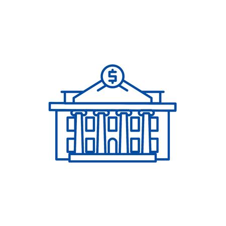 Financial institution line concept icon. Financial institution flat  vector website sign, outline symbol, illustration.  イラスト・ベクター素材