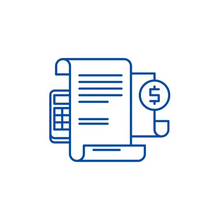 Financial instructions line concept icon. Financial instructions flat  vector website sign, outline symbol, illustration.