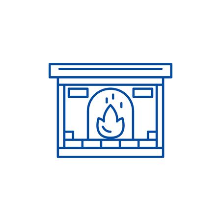 Fireplace line concept icon. Fireplace flat  vector website sign, outline symbol, illustration.