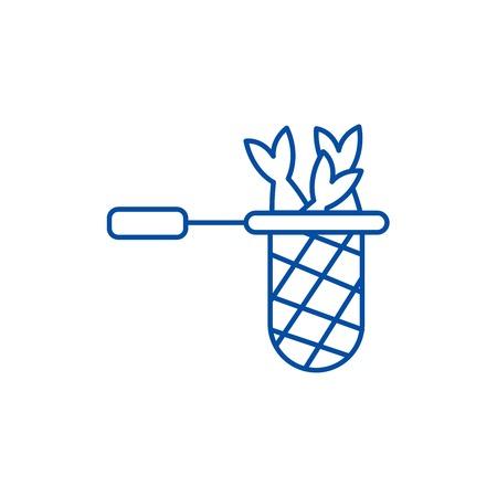 Fish nets line concept icon. Fish nets flat  vector website sign, outline symbol, illustration.