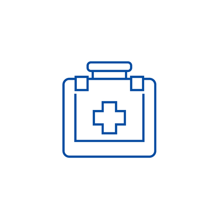 First aid line concept icon. First aid flat  vector website sign, outline symbol, illustration. Archivio Fotografico - 120071380