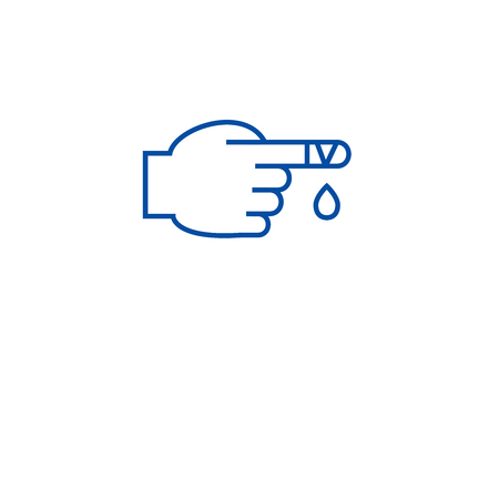 First aid, injured finger line concept icon. First aid, injured finger flat  vector website sign, outline symbol, illustration. 일러스트