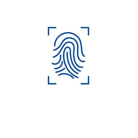 Fingerprint scan line concept icon. Fingerprint scan flat  vector website sign, outline symbol, illustration. Illustration