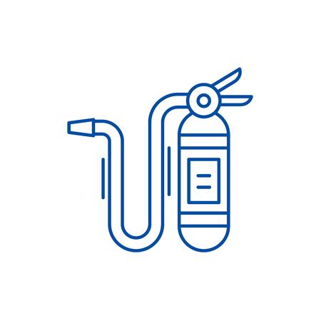 Fire extinguisher line concept icon. Fire extinguisher flat  vector website sign, outline symbol, illustration.