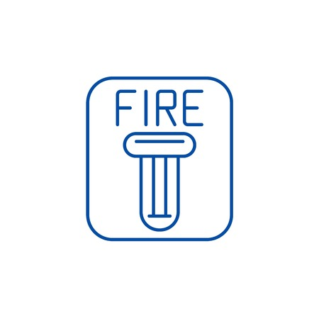 Fire safety line concept icon. Fire safety flat  vector website sign, outline symbol, illustration.