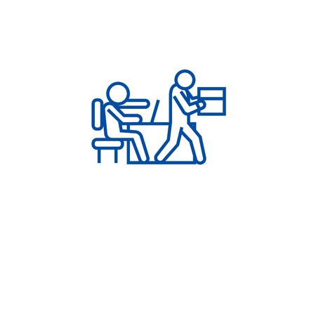Fired from job line concept icon. Fired from job flat  vector website sign, outline symbol, illustration.
