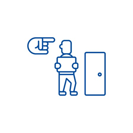 Fired,exit,dismissal line concept icon. Fired,exit,dismissal flat  vector website sign, outline symbol, illustration. Иллюстрация