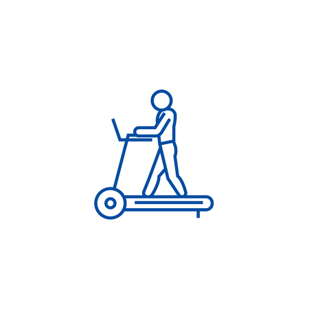 Fitness treadmill line concept icon. Fitness treadmill flat  vector website sign, outline symbol, illustration.