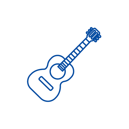 Flamenco guitar illustration line concept icon. Flamenco guitar illustration flat  vector website sign, outline symbol, illustration.