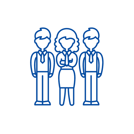 Financial team line concept icon. Financial team flat  vector website sign, outline symbol, illustration.