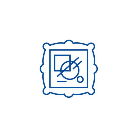 Fine art line concept icon. Fine art flat  vector website sign, outline symbol, illustration.