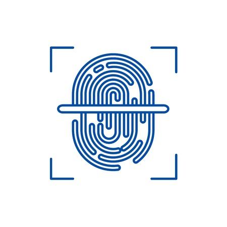 Finger scanner line concept icon. Finger scanner flat  vector website sign, outline symbol, illustration.