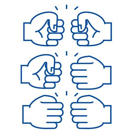 Fist bump line concept icon. Fist bump flat  vector website sign, outline symbol, illustration.