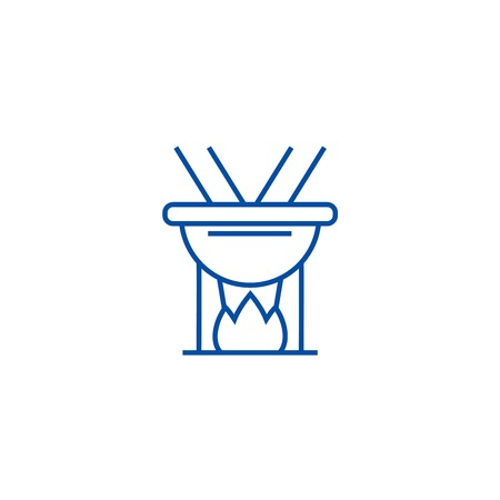 Fondue line concept icon. Fondue flat  vector website sign, outline symbol, illustration. Banque d'images - 119986121