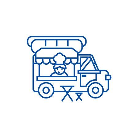 Food truck,street mobile kitchen line concept icon. Food truck,street mobile kitchen flat  vector website sign, outline symbol, illustration. Stock Illustratie