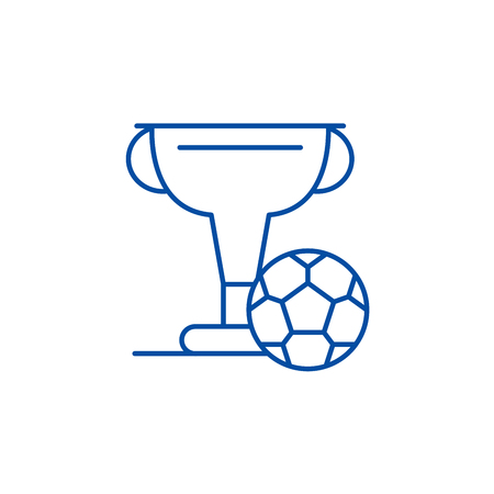 Football cup line concept icon. Football cup flat  vector website sign, outline symbol, illustration.