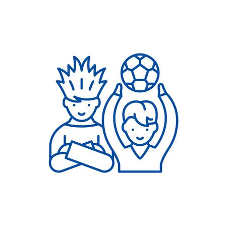 Football fans line concept icon. Football fans flat  vector website sign, outline symbol, illustration.