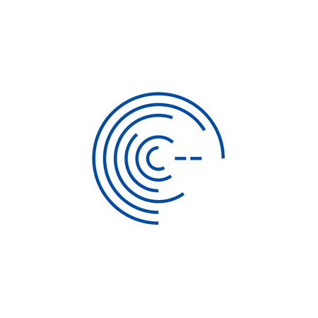 Forecast concept line concept icon. Forecast concept flat  vector website sign, outline symbol, illustration.