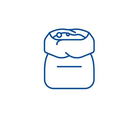 Flour bag line concept icon. Flour bag flat  vector website sign, outline symbol, illustration.