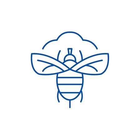 Fly line concept icon. Fly flat  vector website sign, outline symbol, illustration.
