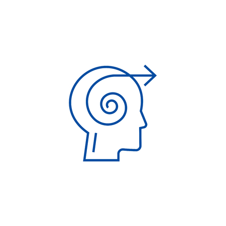 Focus decision head line concept icon. Focus decision head flat  vector website sign, outline symbol, illustration.
