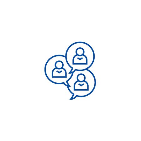 Focus group discussion line concept icon. Focus group discussion flat  vector website sign, outline symbol, illustration. Illustration