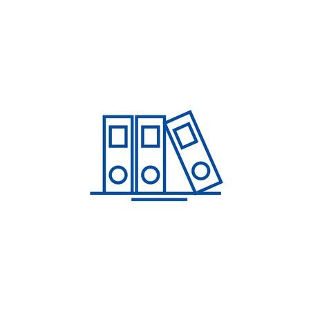 Icona del concetto di linea di file e cartelle. Cartelle e file vettore piatto sito web segno, simbolo di contorno, illustrazione.