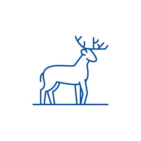 Forest deer line concept icon. Forest deer flat  vector website sign, outline symbol, illustration. Çizim