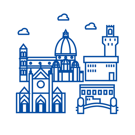 Florence italy line concept icon. Florence italy flat  vector website sign, outline symbol, illustration.