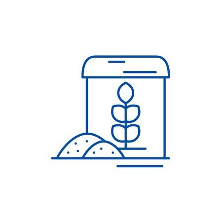 Flour line concept icon. Flour flat  vector website sign, outline symbol, illustration. Standard-Bild - 119619262