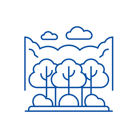 Forest park line concept icon. Forest park flat  vector website sign, outline symbol, illustration.