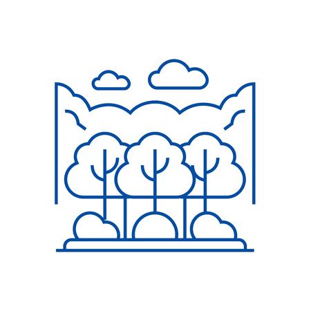 Forest park line concept icon. Forest park flat  vector website sign, outline symbol, illustration.