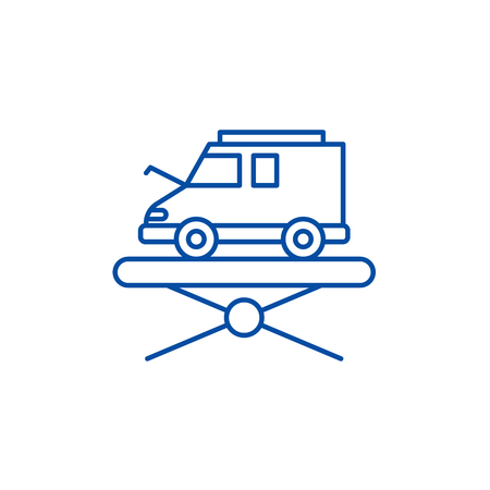 Forklift line concept icon. Forklift flat  vector website sign, outline symbol, illustration. Illustration
