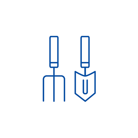 Forks, mini trowel  line concept icon. Forks, mini trowel  flat  vector website sign, outline symbol, illustration.