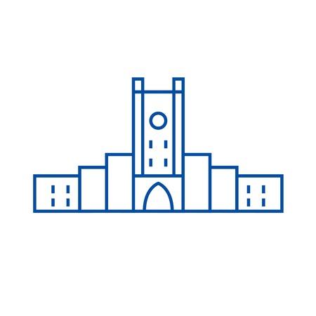 Fortress line concept icon. Fortress flat  vector website sign, outline symbol, illustration. Illustration