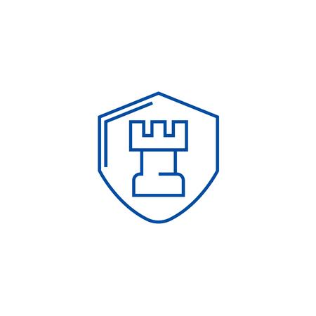 Fortress, castle shield line concept icon. Fortress, castle shield flat  vector website sign, outline symbol, illustration. Иллюстрация